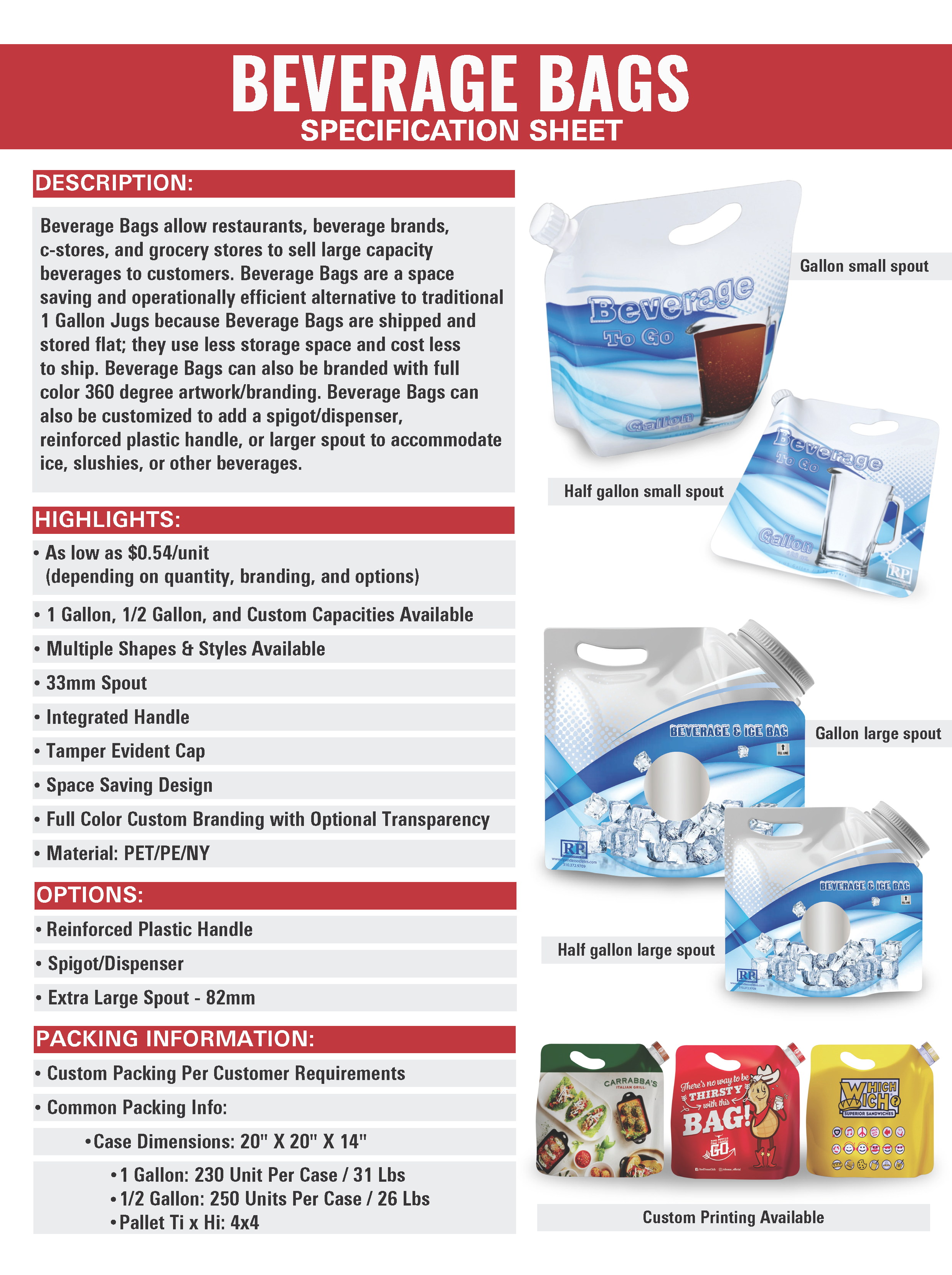 beverage bag sell sheet 1