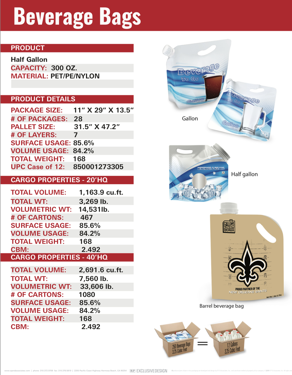 half gallon beverage bag sell sheet