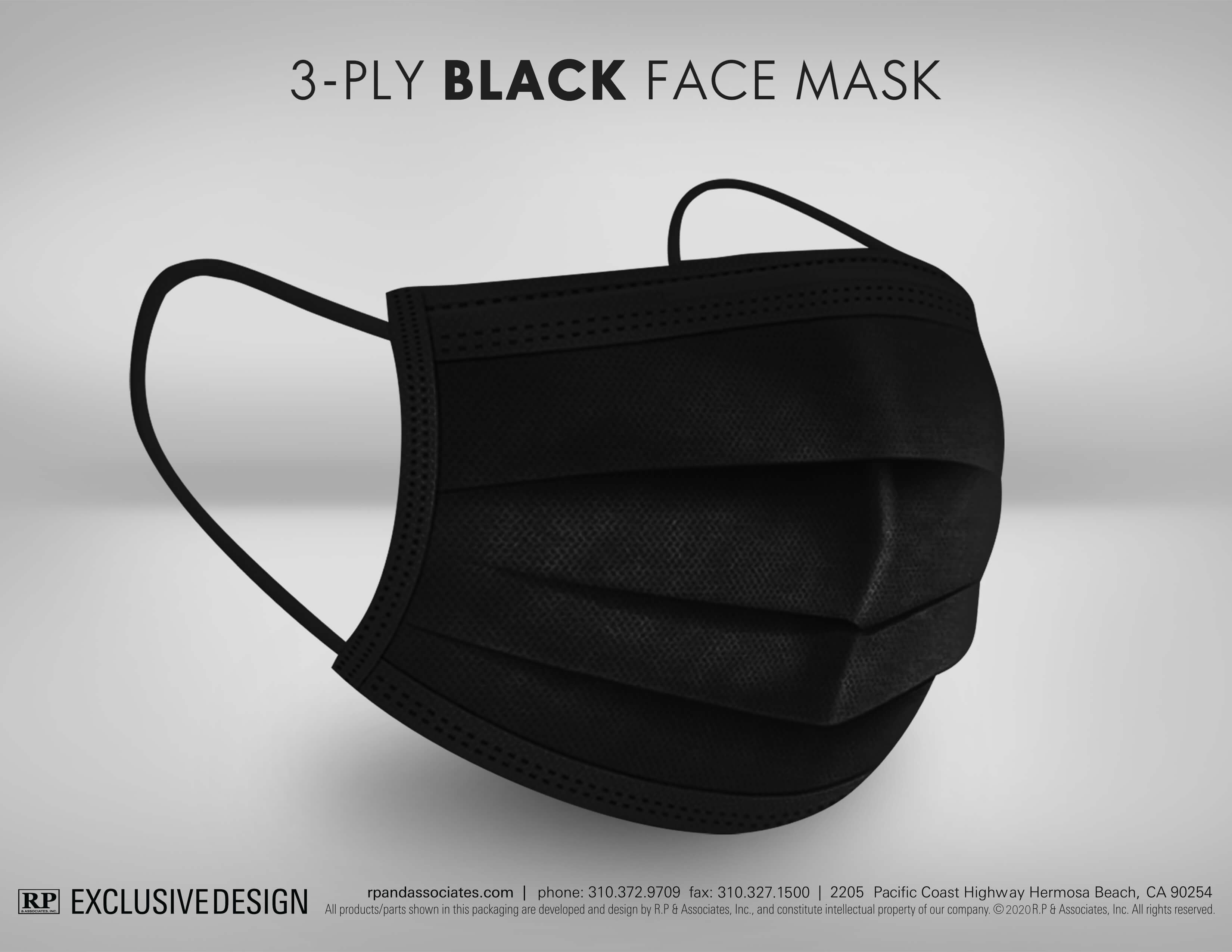 black 3-ply face mask