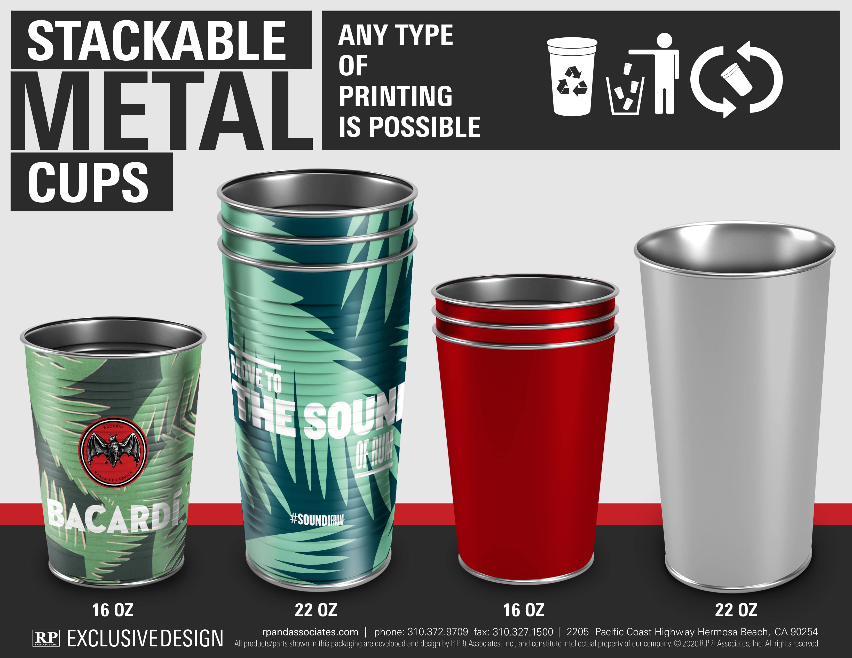stackable tin can cups various